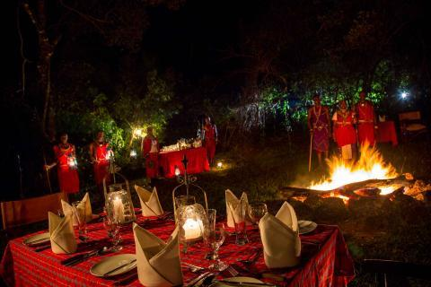 Bush dinner with traditional maasai entertainment